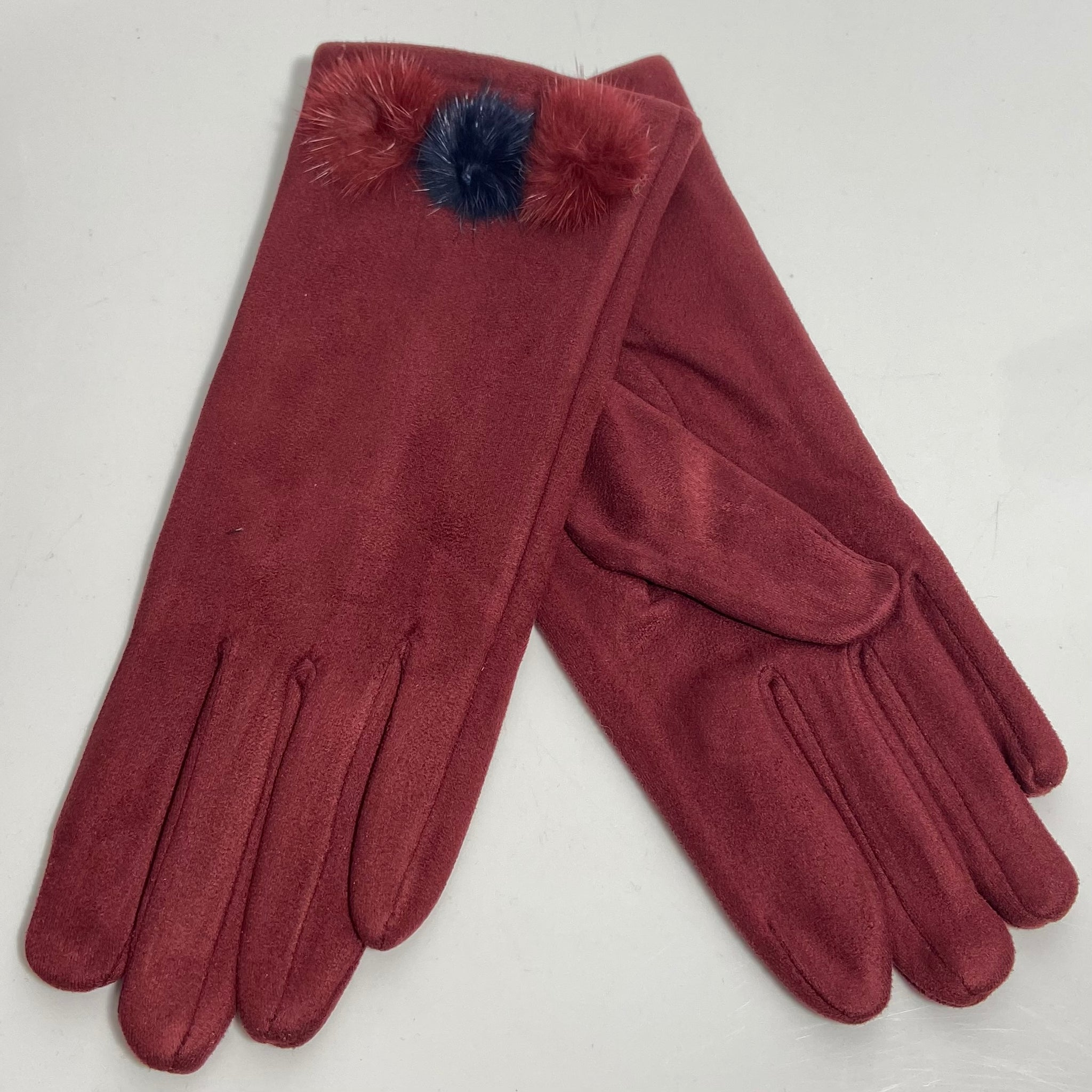 Burgundy tri pom-pom faux fur gloves