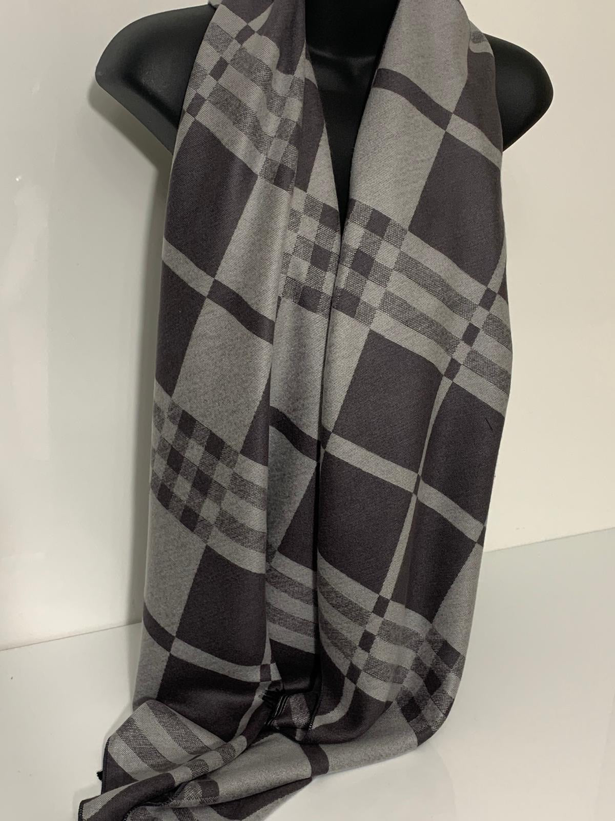 Wool-mix, light and dark grey windowpane abstract scarf