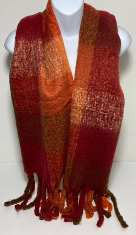 Mouflon raspberry and burnt orange mix super soft scarf