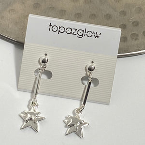 Double star dangly drop earrings