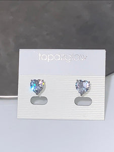 Silver diamanté heart earrings