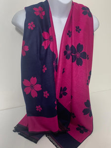 Wool mix, fuchsia and navy floral reversible scarf