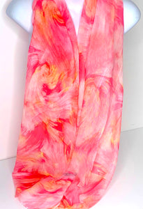 Pink, orange and white wave-print scarf