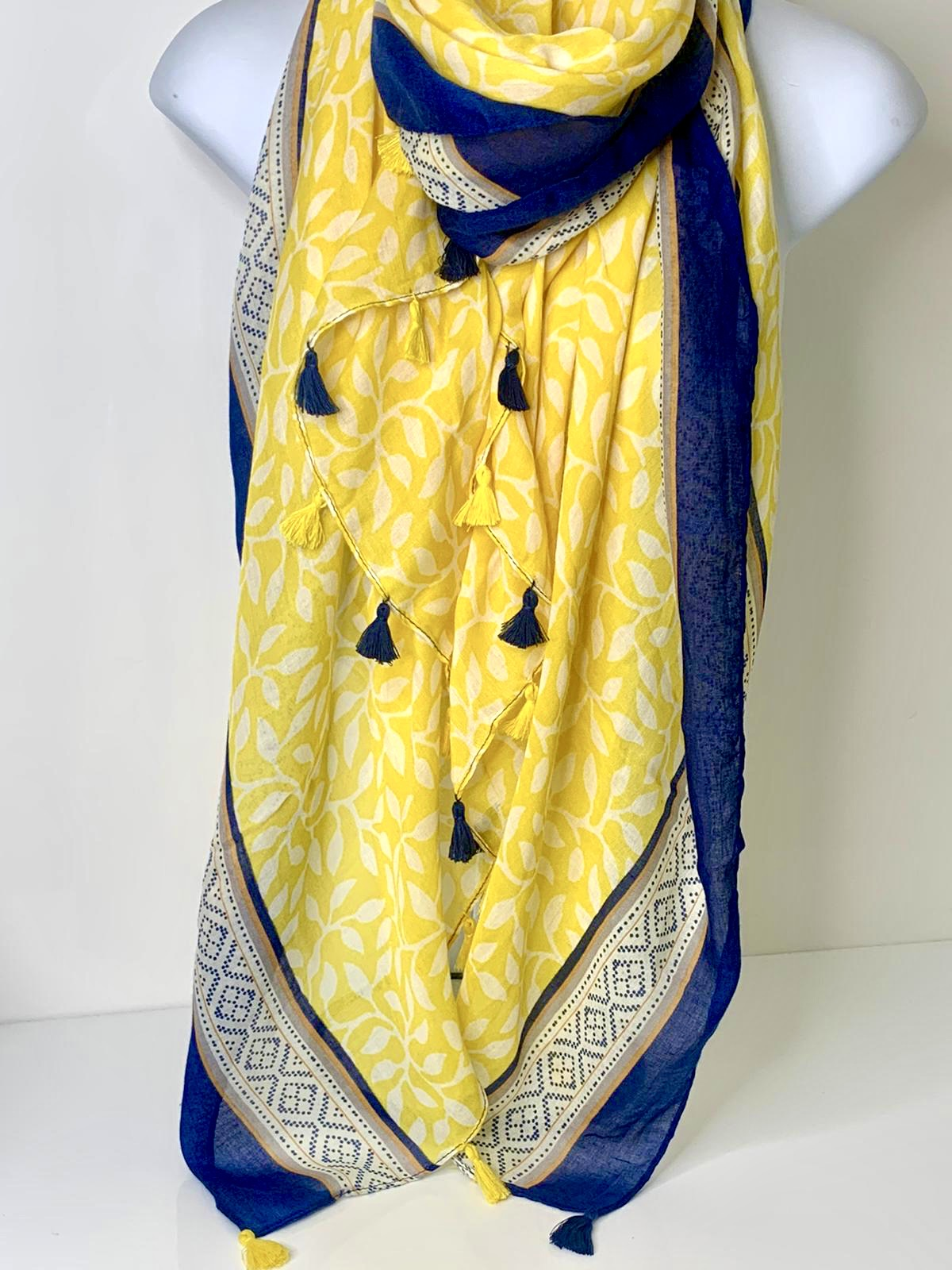 Navy and lemon abstract print tassel-edge scarf