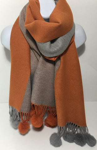 Cashmere mix, super soft pompom scarf in orange and grey