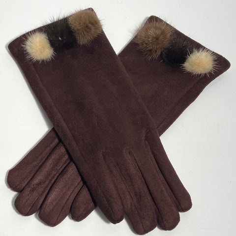 Maroon tri pom-pom faux fur gloves