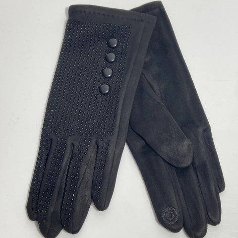 Black button stitch gloves