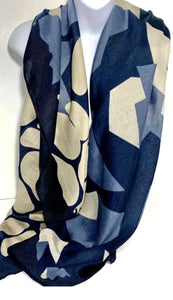 Blue and stone geometric pattern scarf