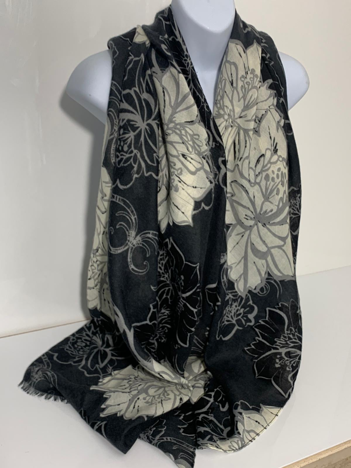 Cream, black and grey floral print scarf