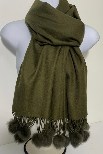 Super soft plain pom pom end scarf in various colours