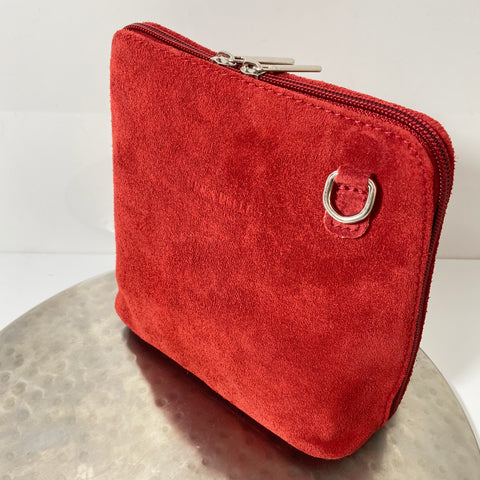 Red cross-body suede bag