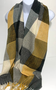 Super soft, wool mix checkerboard scarf in shades of mustard and grey