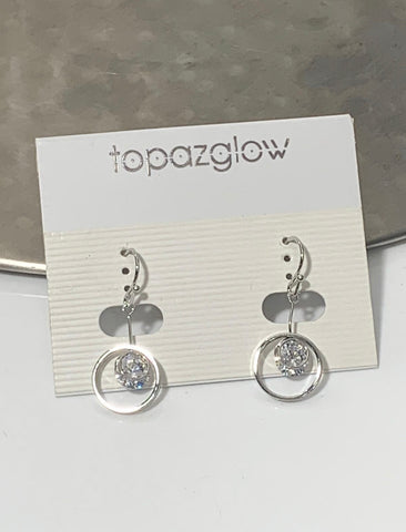 Silver circular diamanté drop earrings