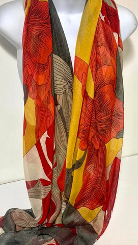 Red, mustard and grey peony print scarf