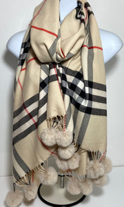 Cream checked cashmere & cotton blend scarf with pom poms