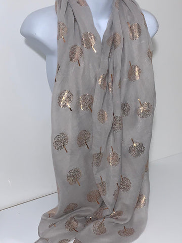 Grey and rose-gold mulberry tree glitter scarf