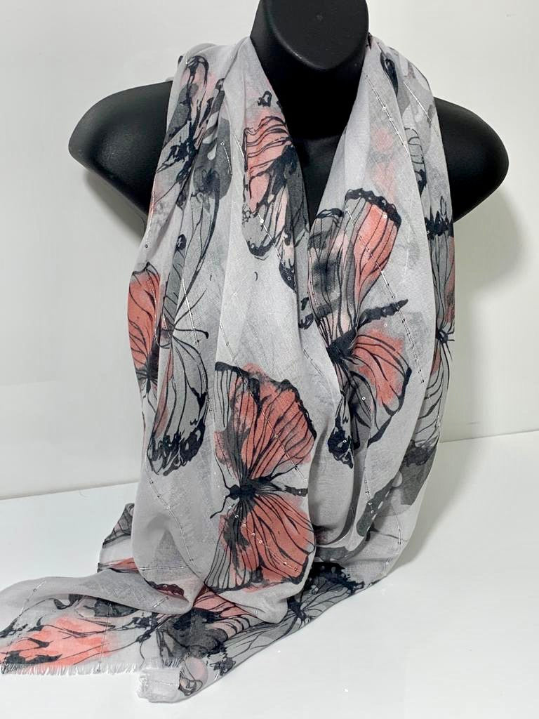 Sequin butterfly print scarf