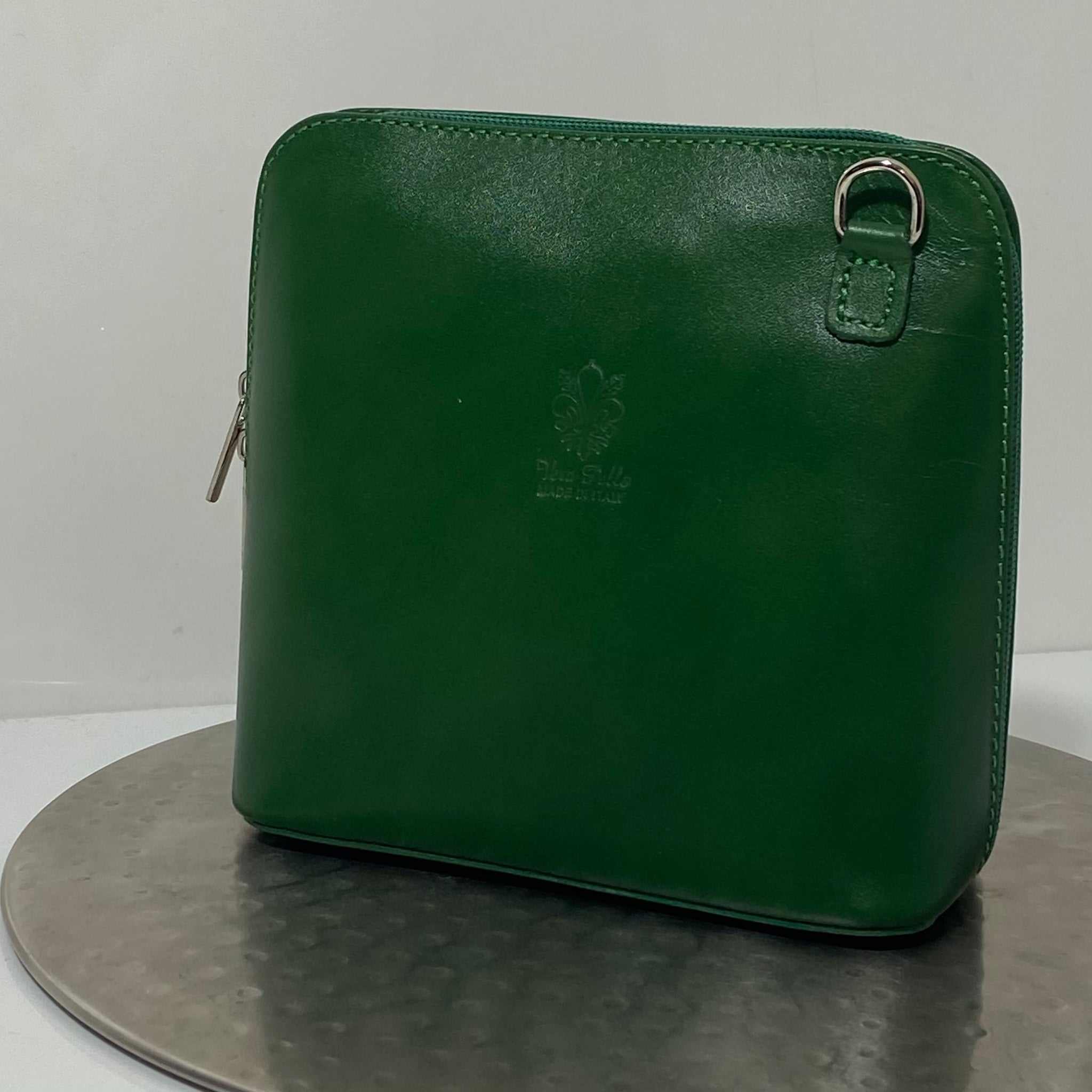 Forest green cross-body leather bag