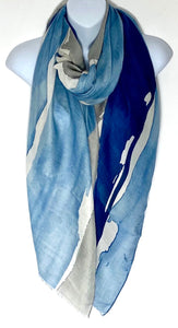 Paint splash print scarf in blue and grey