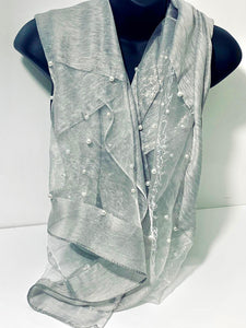 Silk-mix, studded pearl edge voile scarf in light grey