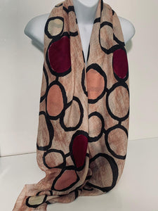 Beige, pink, mulberry and black circular printed scarf