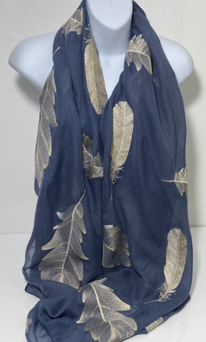 Embroidered feather scarf in blue