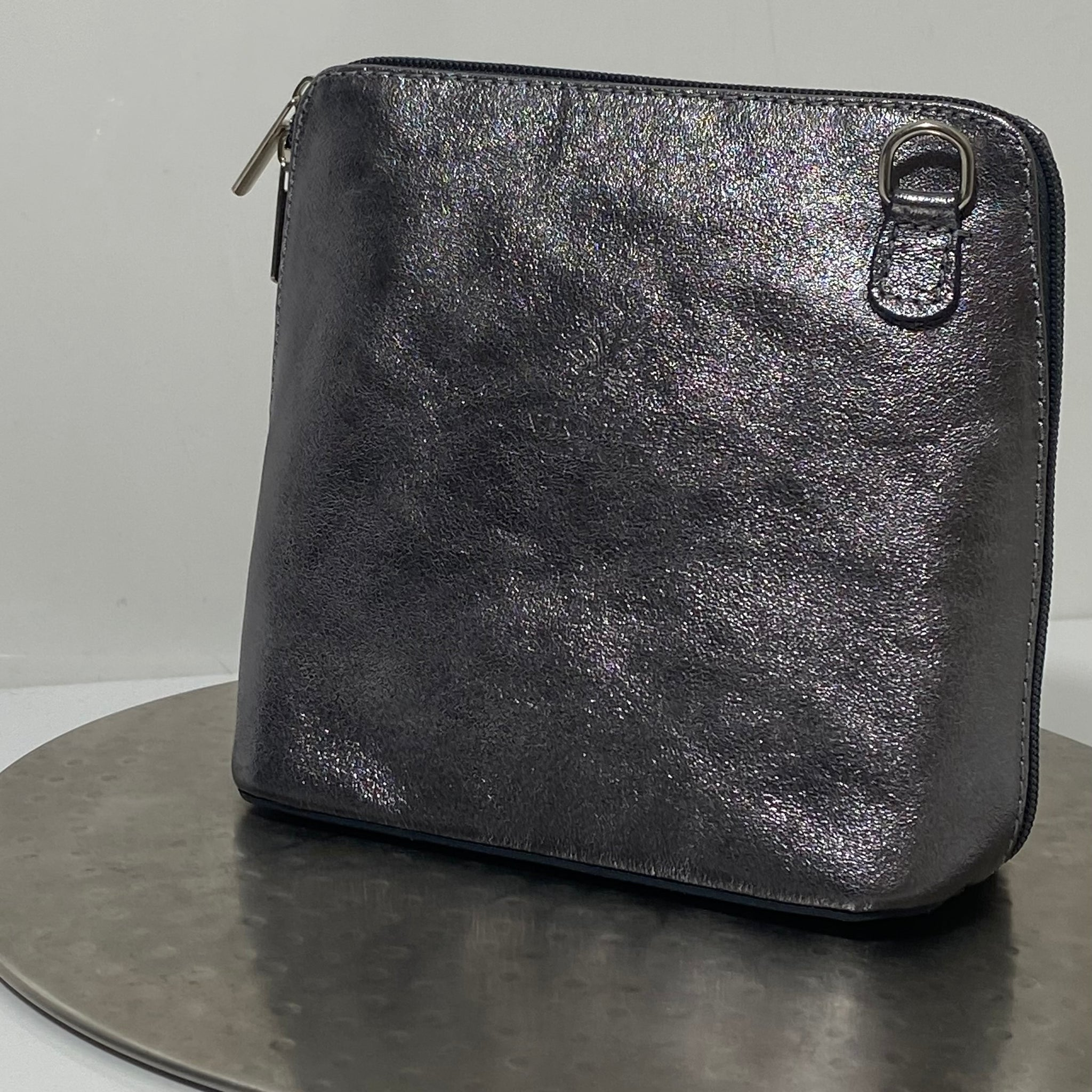 Pewter cross-body leather bag