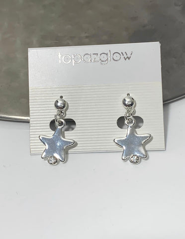 Diamanté star silver earrings