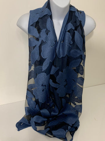 Blue and black voile scarf