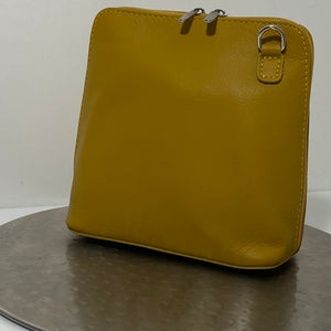 Mustard cross-body leather bag