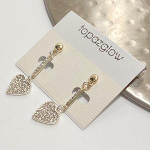 Diamanté encrusted heart drop earrings