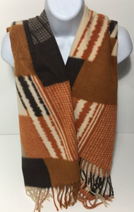 Super soft wool mix tan block colour scarf