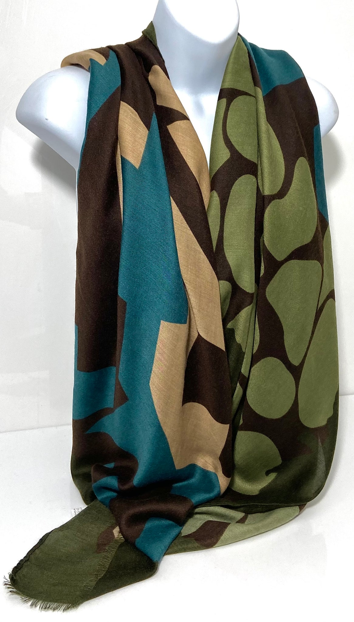 Jade green, stone and brown geometric pattern scarf