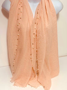 Studded pearl edge scarf in peach/pink