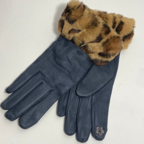 Dark grey coloured leopard print cuff faux fur gloves