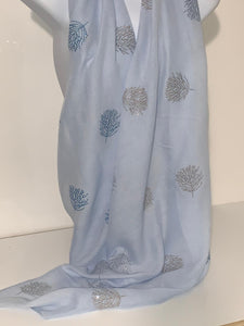 Baby blue glitter-tree scarf