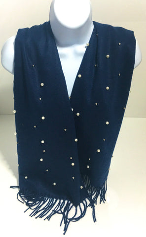 Super soft wool-mix winter studded pearl scarf in various colours