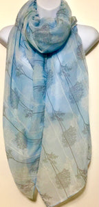 Baby blue forest print scarf