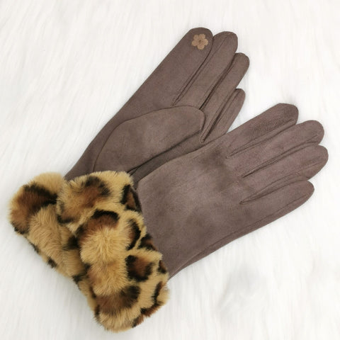 Taupe coloured leopard print cuff faux fur gloves