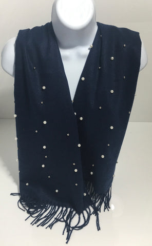 Super soft navy pearl-edge scarf