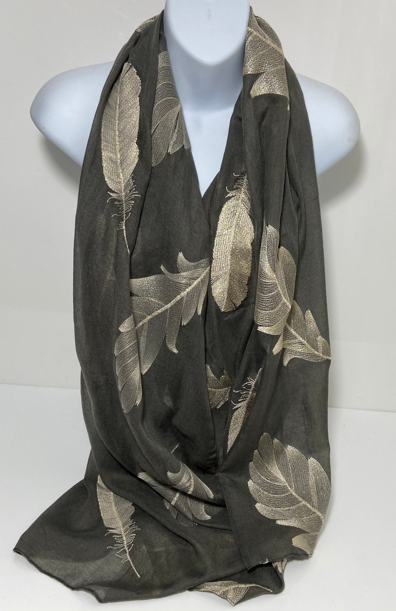 Embroidered feather scarf in grey