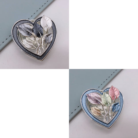 Leaf heart magnetic brooch