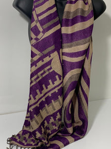 Purple, grey and beige abstract scarf