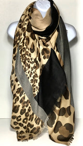 Grey, brown and black leopard print scarf