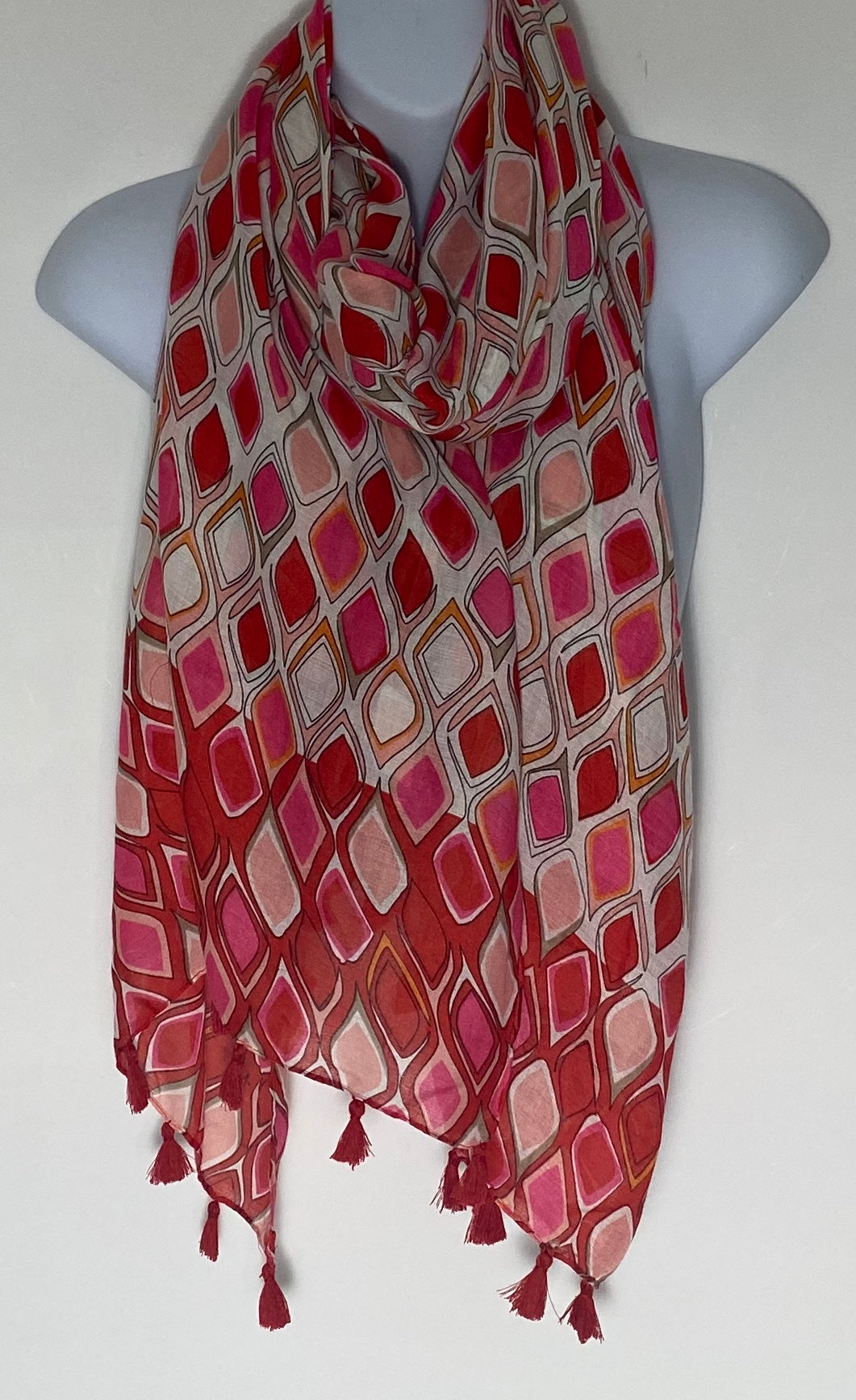 Shades of Red harlequin print tassel scarf