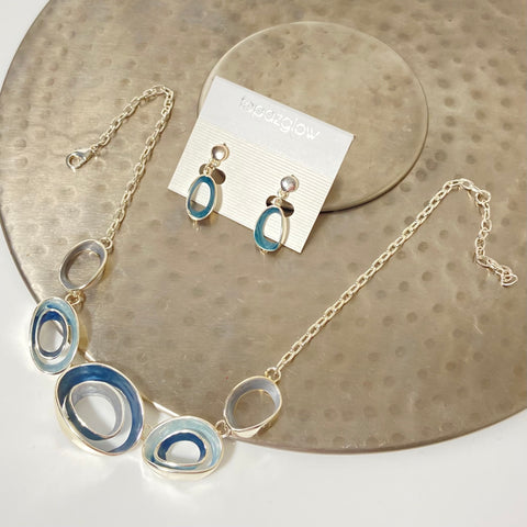 Blue concentric circle necklace and earring set