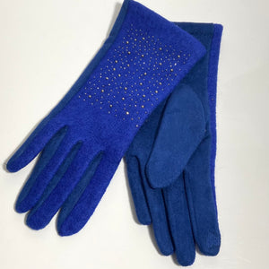 Bright blue diamanté gloves