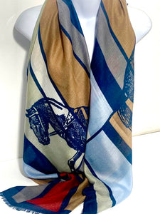 Navy, red and tan horse print scarf