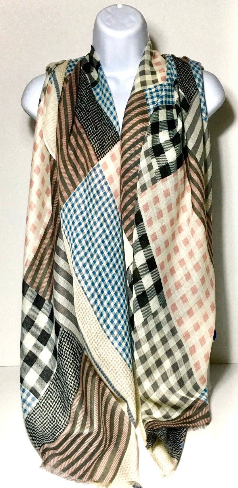 Shades of pink, blue, black and stone multi-check scarf