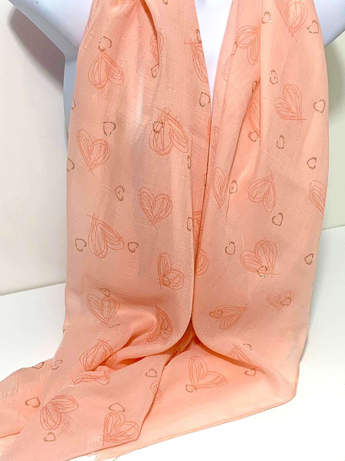 Glitter and sketched heart printed scarf in pink
